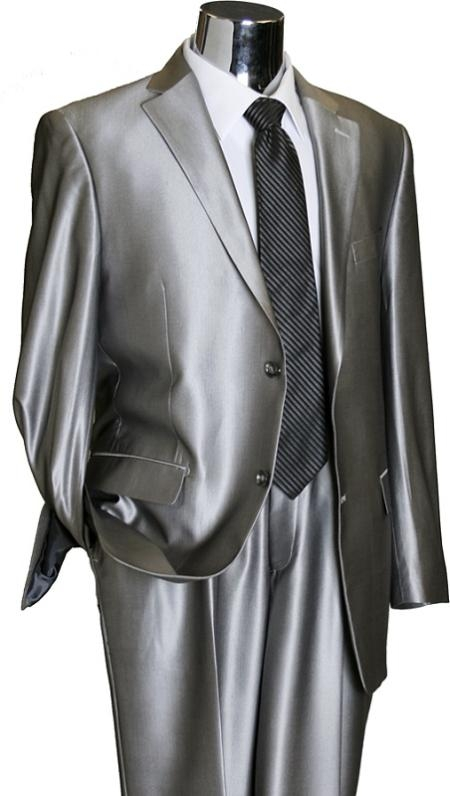 SKU#RB4929 Shiny 2 Button Silver Grey ~ Gray Flashy Sharkskin Mens Suit
