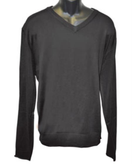 Men's Black V Neck Sweater set Available in Mens Big And Tall Sweaters Sizes