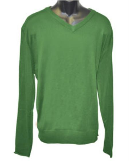 Men's K Green V Neck Long Slevee Sweater set Available in Big And Tall Sizes