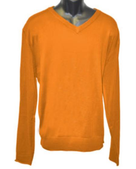 Men's Orange V Neck Long Slevee Sweater set Available in Mens Big And Tall Sweaters Sizes