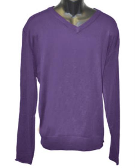 Mens Purple V Neck Long Slevee Sweater Available in Big And Tall Sizes