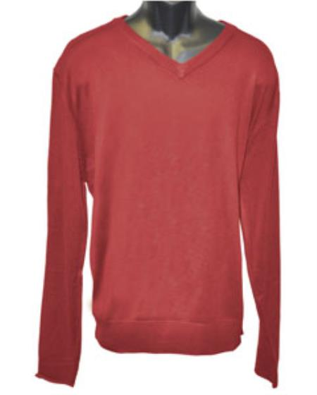 Men's Red V Neck Long Slevee Sweater set Available in Mens Big And Tall Sweaters Sizes