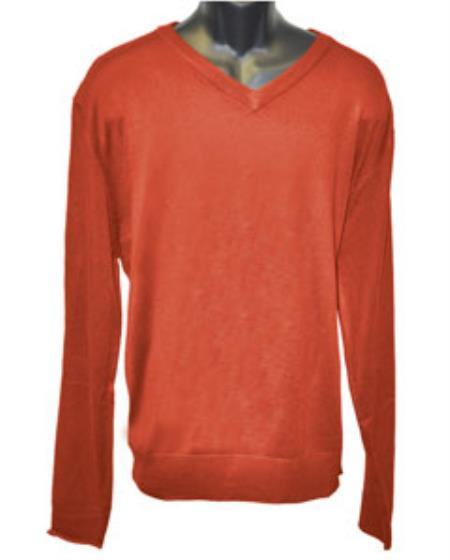 Mens Rust V Neck Long Slevee Sweater set Available in Big And Tall Sizes