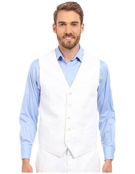 Men's Five Buttons V-neck Matching White Linen Vest & Pants Set