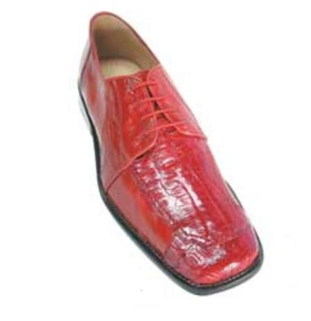Belvedere Vasco in Genuine Eel and Crocodile in Red $269