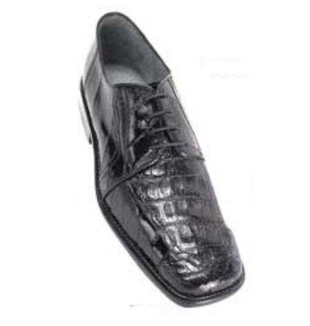 Belvedere Vasco in Genuine Eel and Crocodile in Black $269