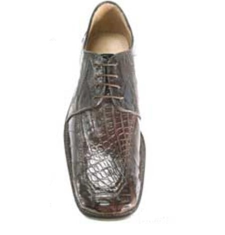 Belvedere Vasco in Genuine Eel and Crocodile in Brown $269