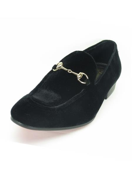 Men's Fashionable Carrucci Slip On Style Velvet Black Shoes With Buckle