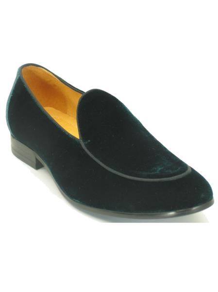 Carrucci Mens Genuine Velvet Fashionable Emerald Loafer Shoe