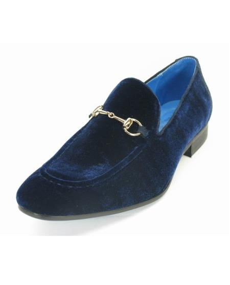 Mens Fashionable Carrucci Velvet Navy Slip On Style Shoes With Buckle