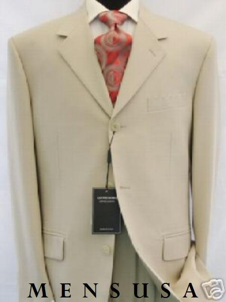 SKU# LK378 Very Light Tan ~ Beige Summer Suit Light Weight 3 Button Suits