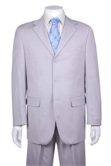 SkU#C73 Very Light Silver Gray~Ash Gray (Steel Gray) 3 Button Suit $99