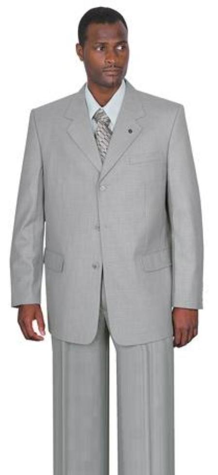 SkU#A63 Very Very Light Silver Gray~Ash Gray 3 Button Suit Pleated Pants $99