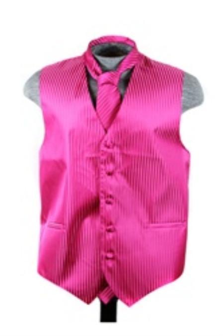 SKU#VS6877 Vest Tie Set Red Violet