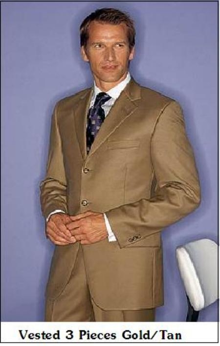 SKU# JKG407 Vested 3 Pieces  Gold/Tan Super 150s Real premier quality italian fabric Wool $199