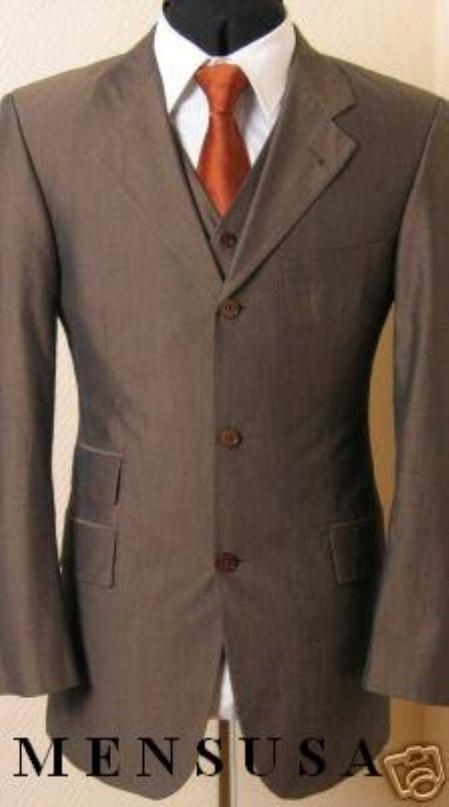 SKU# SRM375 Vested Brown Shark Skin Ticket Pocket Shadow Unvisible Pinstripe 3 Buttons Men