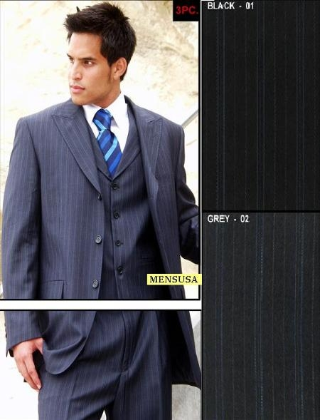 SKU#MU039 Vested 3 Piece 3 Button Peak Lapel Pick Stitch Side Vents Peak Lapel Vest Pleated Pants