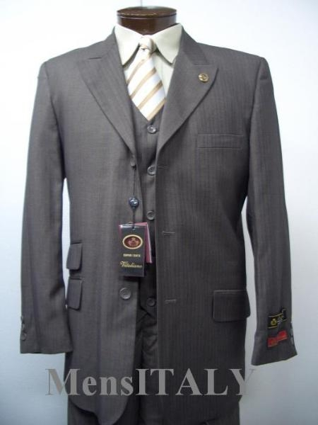 SKU# JNO369 Vested Charcoal Gray Shark Skin Ticket Pocket 3 Pocket Shadow Mini Pinstripe 3 Buttons Mens