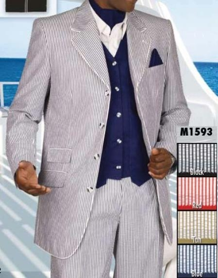 SKU#AA346 Vested Seersucker Suit in black / gray / red / Tan / blue  $189