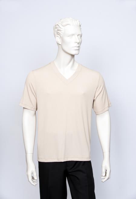 Vienna Beige Men's V-Neck Ribbed Short Sleeve Sweater