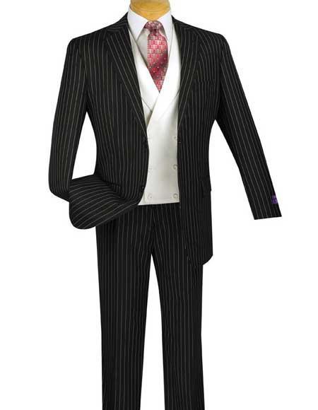 Bold Chalk Pronounce Stripe ~ Pinstripe 2 Button Men's Striped 1920's 30's Fashion Vintage Pattern No Vest Included Black Fashion Suit