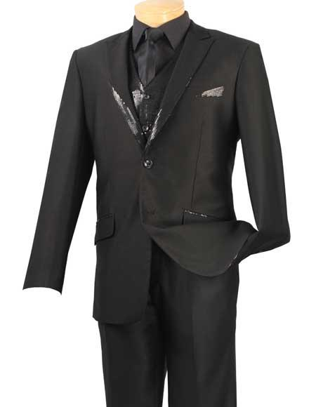 Men's Vinci Black Peaked Collar 2 Button Sequin Vest Evening Style Suit