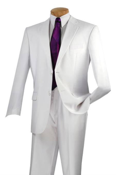 Vinci Mens 2 Button White Suit Flat Front Pants