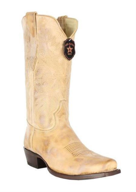 Mens Vintage Honey 7 Toe Los Altos Genuine Premium Leather Cowboy Handmade Dress Cowboy Boot Cheap Priced For Sale Online