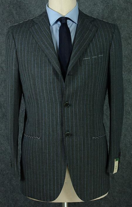 SKU# ZP3 Vintage Style premier quality italian fabric Super 140s Wool Charcoal Gray Pinstripe Mens Business Suit
