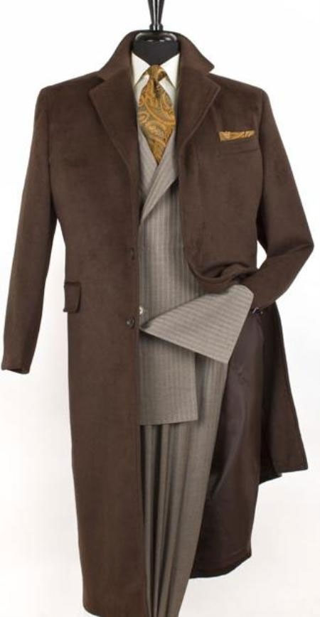 SKU#Coat0600 Vitorri Angel Full length 4 button Hidden Button wool blend Coffe~brown top coat $199