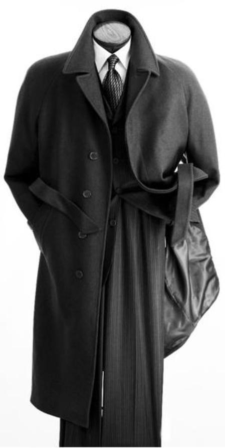 SKU#YKQ329 Vitorri Angel Full length 4 button Hidden Button wool blend Charcoal Gray top coat $185