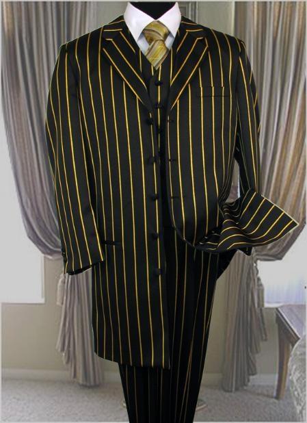 SKU:SKU20151 PT-93 Bold Chalk Gangster BLACK & BOLD PRONOUNCE WITH GOLD Stripe ~ Pinstripe 3PC FASHION ZOOT SUIT $180