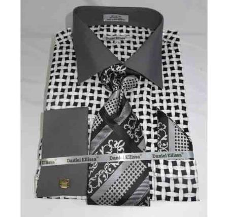 Cotton Large Basket Weave Pattern Black White French Cuff Mens Dress Shirt