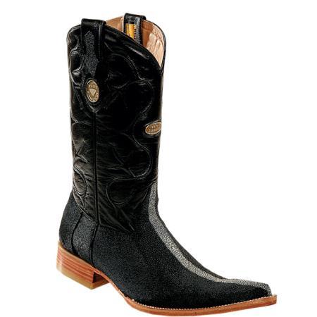 Buy PN26 Wh-Dimond Western Cowboy Boot Mantarraya Perla Pulida Horma Negro