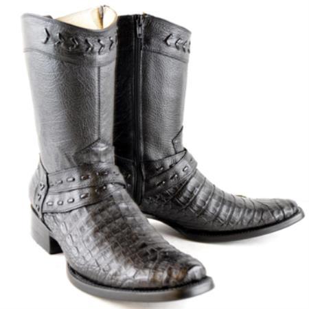 Buy PN_U62 Wh-Dimond Western Cowboy Boot Bota Europea Piel Caiman Color Negro