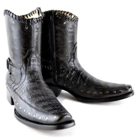 PN-Z53 Wh-Dimond Western Cowboy Boot Bota Europea Piel Caiman con Borde Negro