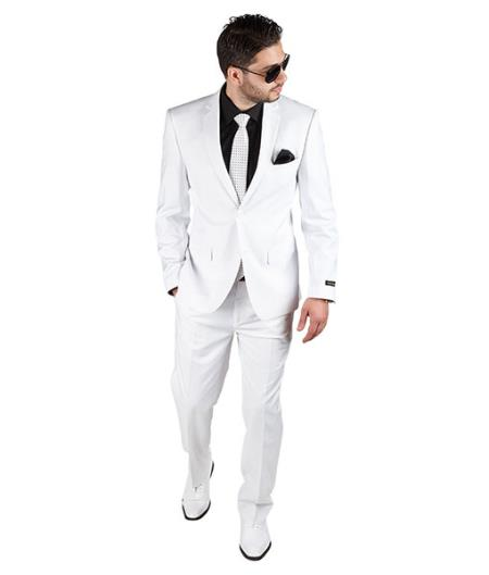 White Slim Fit Men 2 Button Notch Lapel Suit