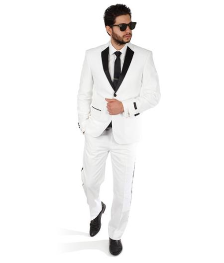 White 2 Button Slim Fit Notch Lapel Satin Line Tuxedo Pants Designer Cheap Priced Mens Slim Fitted Suit - Skinny Fit Suit