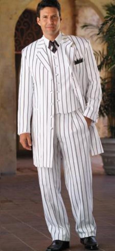 SKU# CRO671 White & Any Color Pinstripe # Piece Suits Dress Fashion For Men $175