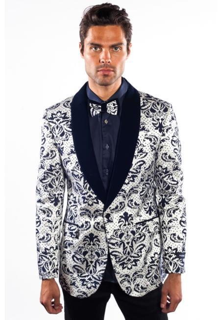 mens flashy shiny sequin blazer ~ sport coat white/black shawl lapel fashion jacket paisley tuxedo