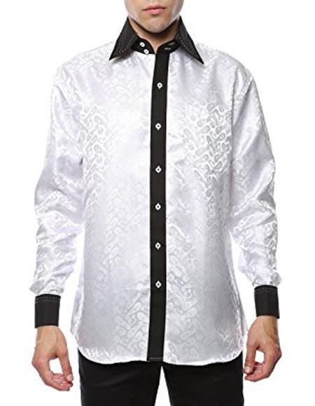 Shiny Satin Floral Spread Collar Paisley Dress Club Clubbing Clubwear Shirts Flashy Stage Colored White-Black Two Toned  Woven Casual Mens Dress Shirt
