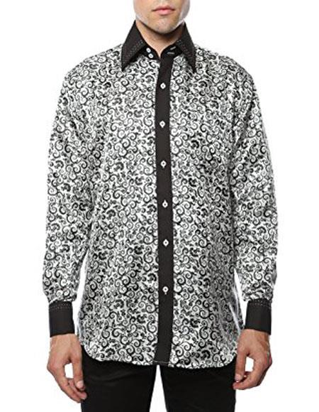 Mens White-Black Shiny Satin Floral Spread Collar Paisley Dress Club Clubbing Clubwear Shirts Flashy Stage Colored Two Toned Woven Casual