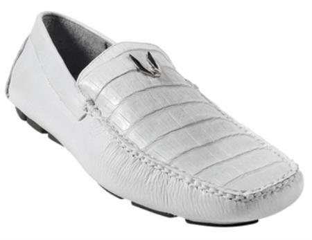 SKU#KA5721 Mens White Genuine Caimen Belly Driver Vestigium Driving Shoes slip on loafers for men