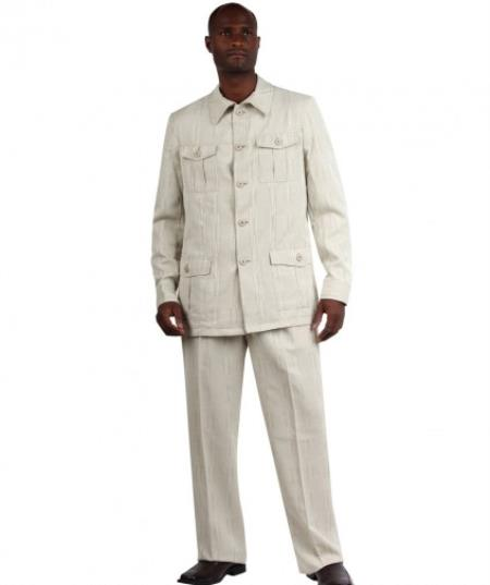 Mens Casual Mandarin Safari Suit White
