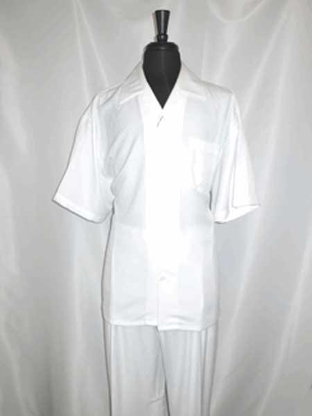 Single Breasted 5 Buttons Short Sleeve Casual Two Piece Walking Outfit For Sale Pant Sets Shirt With Pant Set White