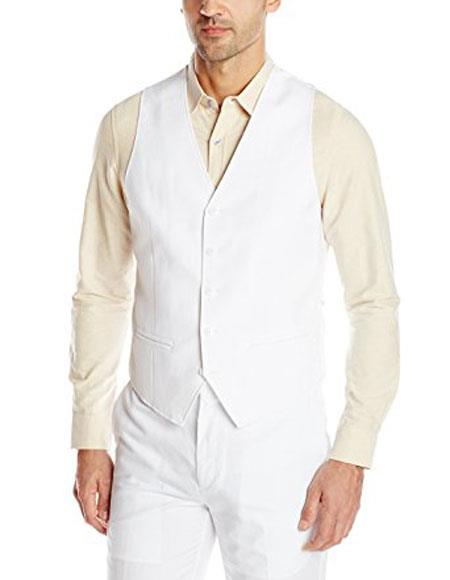 Buy CH432 Men's Linen Vest & Pants Package Set Available White color