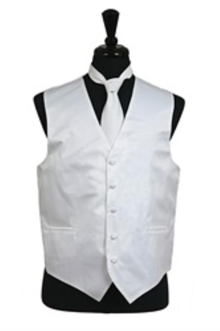 Men's White Regular Fit Wedding Dress Tuxedo with Vest