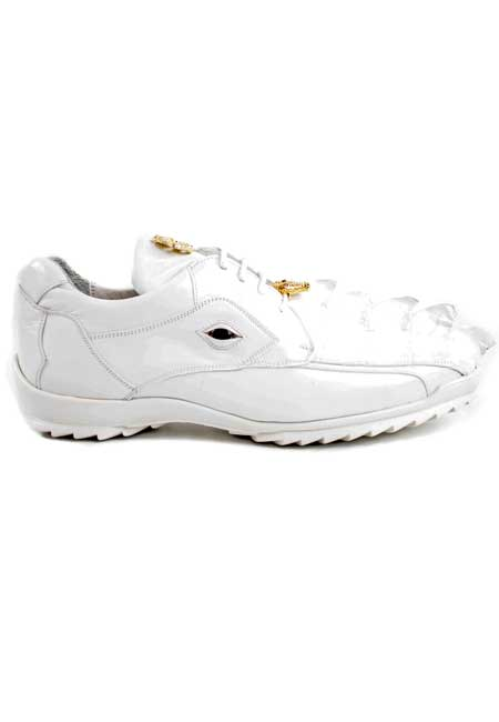 SKU#SS-Q163 Authentic Belvedere Exotic Skin Brand Genuine White Hornback Crocodile and Soft Calf Leather Lining Shoe