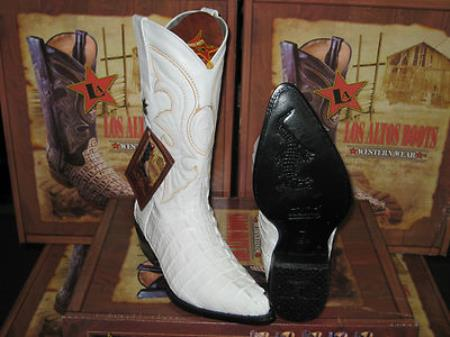 Altos White Genuine Crocodile