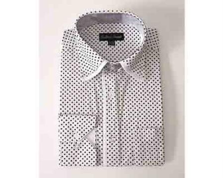 Mini Polka Dot Design White Standard Cuff Classic Fit Men's Dress Shirt